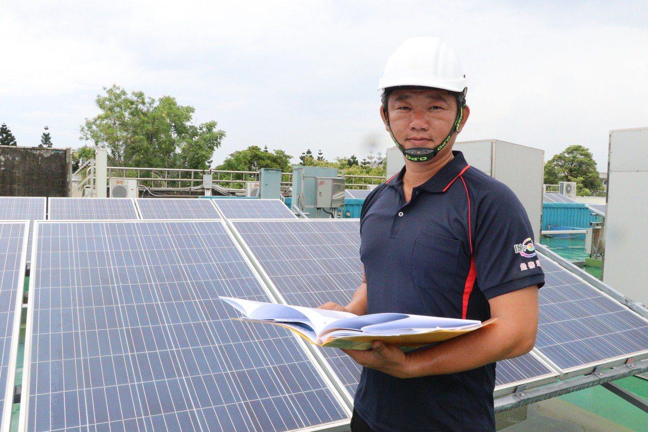從軍中退役轉行太陽能專案經理劉盈新,年薪破百萬。圖/雲嘉南分署提供