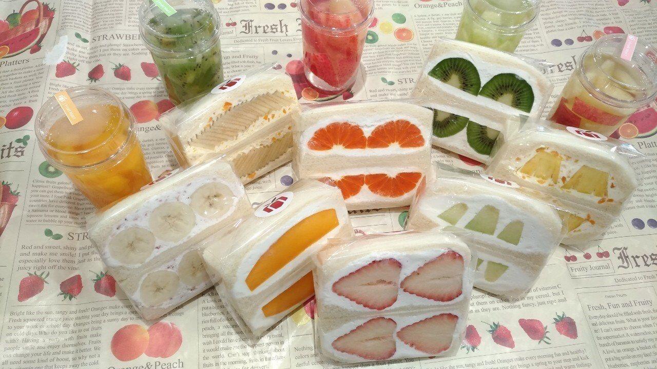 水果鮮奶油三明治每日限量供應口味不同。圖/J Fruit Mart 提供
