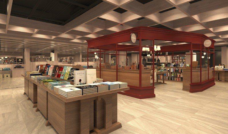 誠品生活高雄悦誠店,空間設計融入英國元素,6月5日試營運。圖/誠品提供
