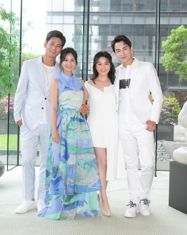 楊子儀(左起)吳怡霈和楊小黎、陳謙文合作台灣好戲「天之蕉子」。圖/三立提供