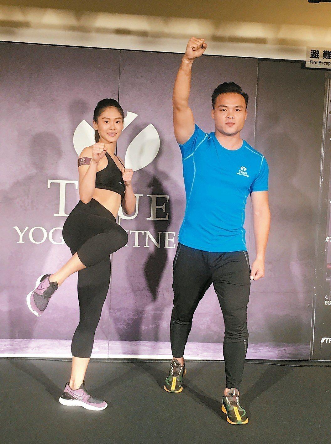 文姿云(左)和鄭兆村共同為健身集團擔任代言人。 記者曾思儒/攝影