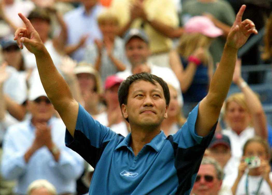 張德培在2003年美國網球公開賽首輪輸球後,宣布退休。(法新社)