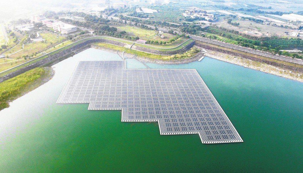 高雄市阿公店水庫是台灣第一座水庫太陽光電廠。 工研院綠能所/提供