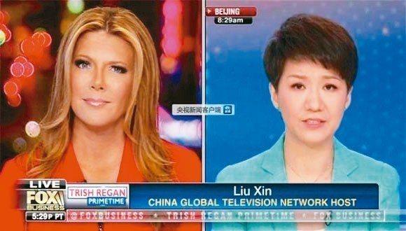 隸屬央視下的中國國際電視台(CGTN)主播劉欣與美國福斯商業頻道主播黎根,就中美...