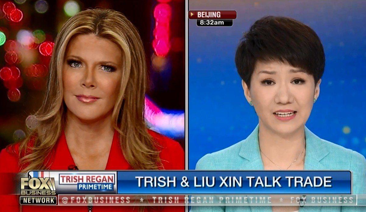 貿易戰延燒至電視圈,美、中女主播在節目談論美中貿易摩擦。圖擷自福斯電視台