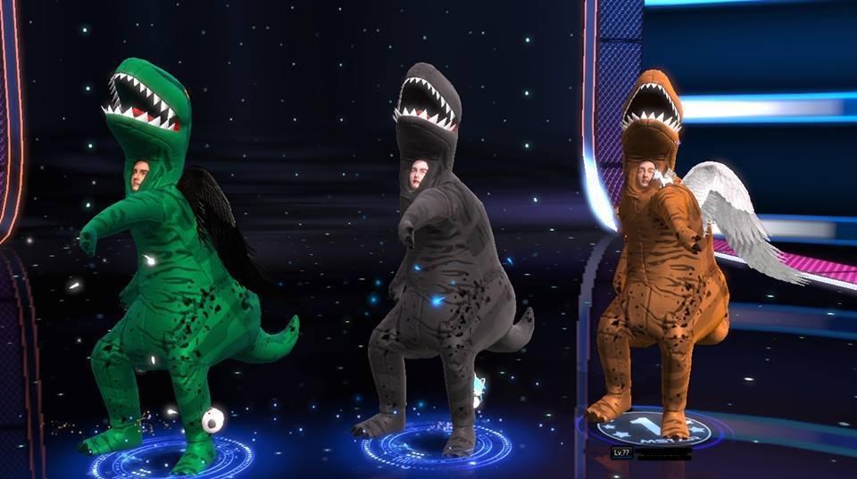 玩家穿著恐龍裝熱舞/圖片截自MstarFB