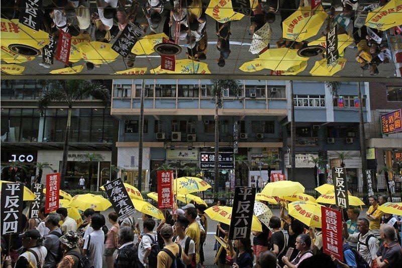 2019年5月26日,香港支聯會舉行紀念六四30週年遊行。 圖/美聯社