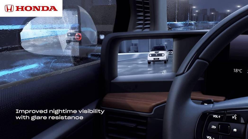 Honda e採用數位後視鏡可以增加駕駛的視野能見度。 摘自Honda