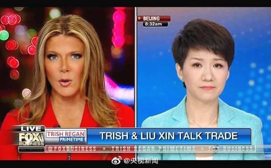 中美女主播「跨洋辯論」僅僅持續了大約17分鐘。美國福斯商業頻道直播截圖