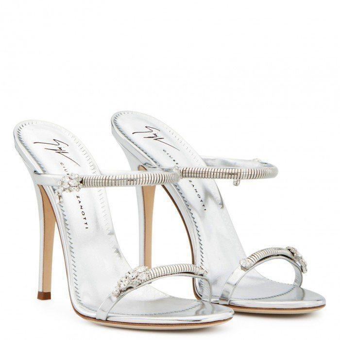 Giuseppe Zanotti的銀色Darsey Sparkling鞋款,繫帶...