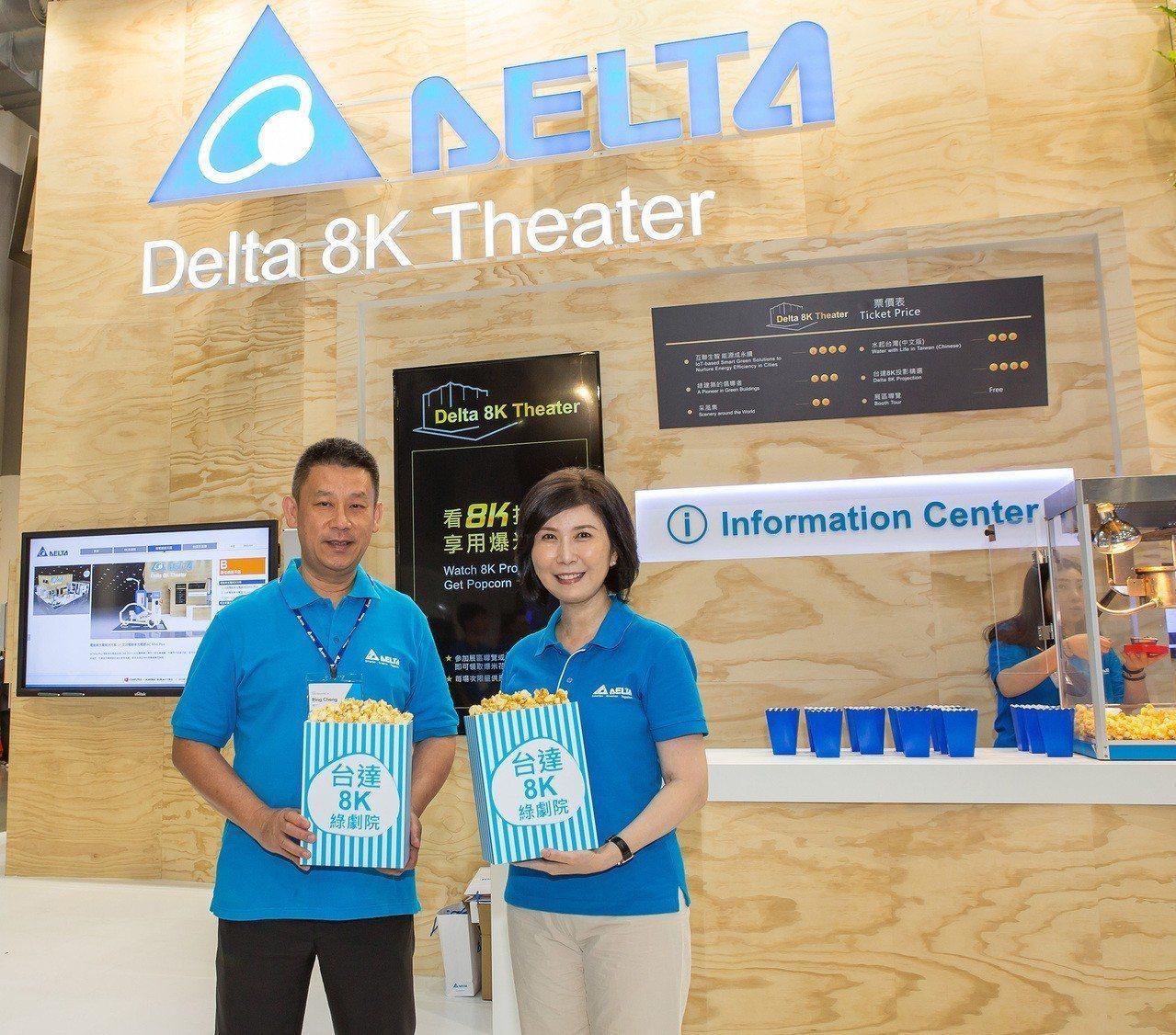 台達電執行長鄭平(左)與品牌長郭珊珊在台北國際電腦展說明今年的智慧生活最新科技解...