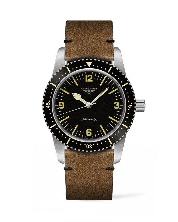 浪琴Skin Diver復刻潛水腕表,不鏽鋼表殼搭配黑色PVD單向旋轉表圈,棕色...
