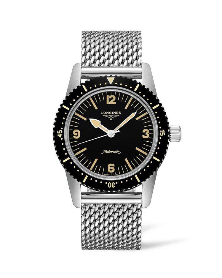 浪琴Skin Diver復刻潛水腕表,不鏽鋼表殼搭配黑色PVD單向旋轉表圈,不鏽...