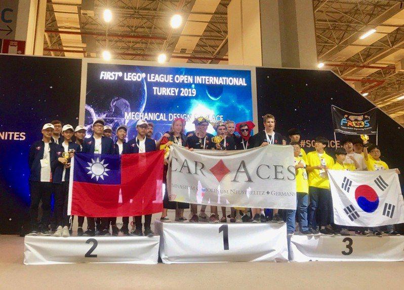 台中美國學校機器人社團ASTonishing今年2月拿下台灣區機器人世界賽總冠軍,5月22日到土耳其參加世界公開賽,在決賽的「結構設計獎」奪下世界第2名。圖/台中美國學校提供