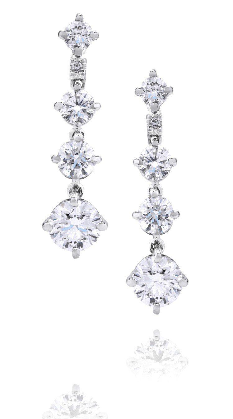 De Beers Arpeggia 單行鑽石耳環,鑽石總重1.33克拉,約30萬...