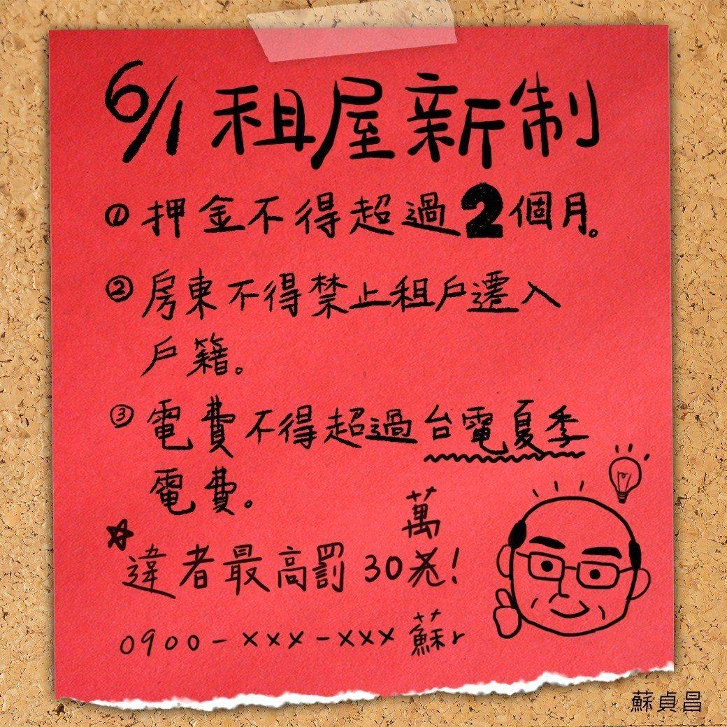 「租屋新制」6月1日正式上線,政府新增3大保障。圖╱取自蘇貞昌臉書粉絲團