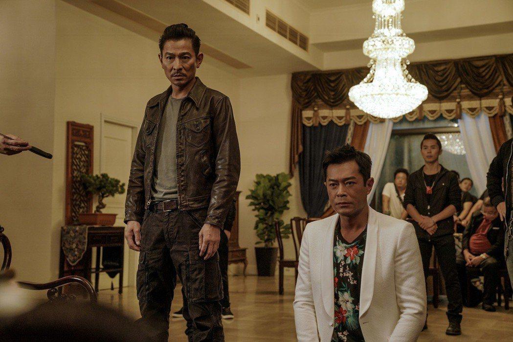 劉德華、古天樂在「掃毒2 天地對決」精彩飆戲。圖/華映提供