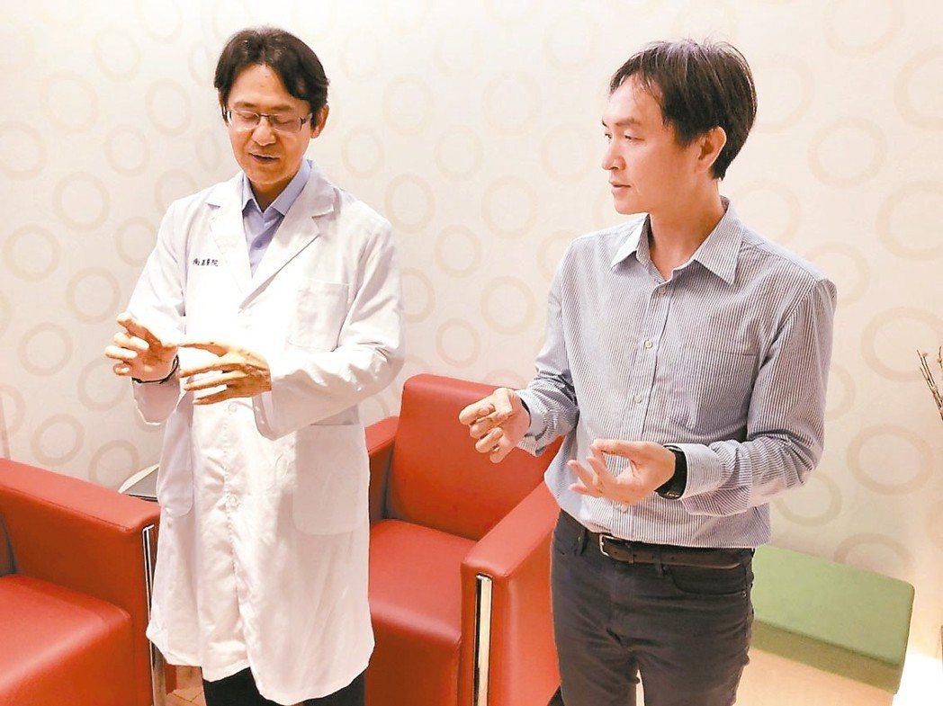 在抗癌的過程中,身心平衡很重要,南基醫院協同院長蔡松彥努力推廣民眾甩手功等簡單易...