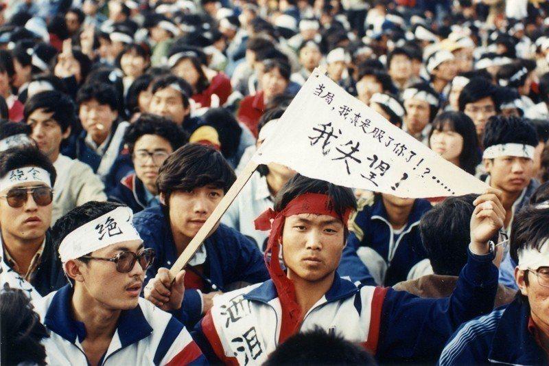 圖攝於1989年,中國學生聚集在北京天安門訴求民主與自由。 圖/聯合報系資料照