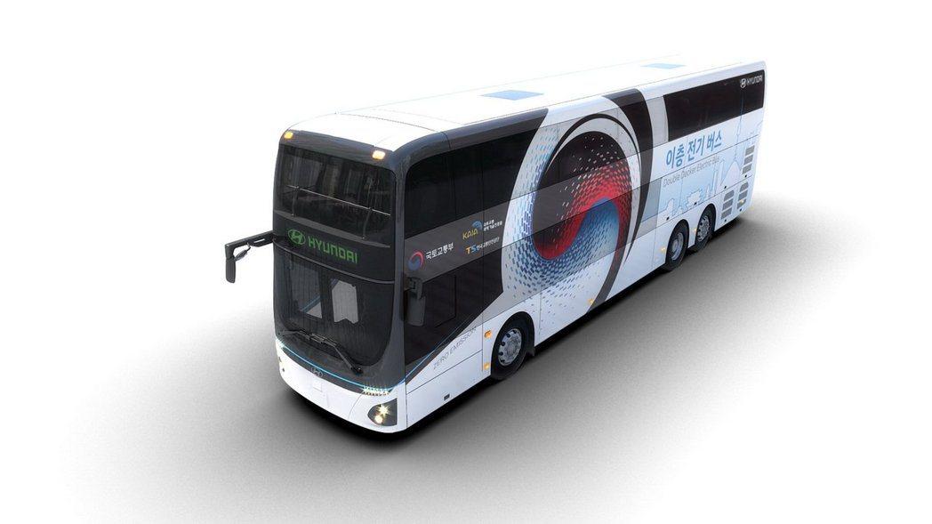 這輛全新雙層電動巴士長約13公尺、高約4公尺、寬約2.5公尺。 摘自Hyunda...