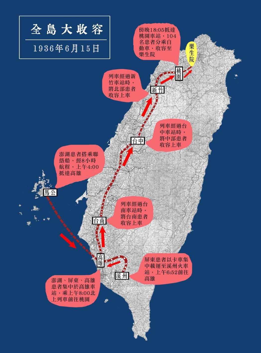 1936年6月的漢生病患大收容,從南端的屏東開始,沿著鐵路收容台灣西半部患者,共計104位患者被送入樂生院。 製圖/黃淥