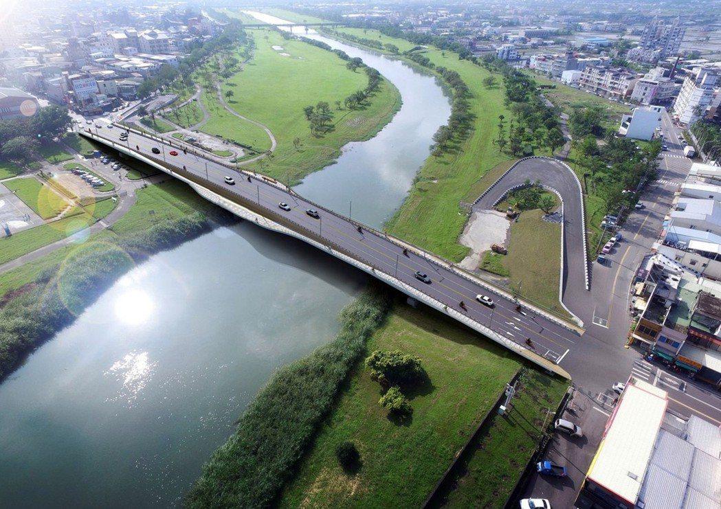 宜蘭橋改建,明年12月完工,新橋更長且安全。圖為宜蘭縣政府提供新橋模擬圖。圖/宜...