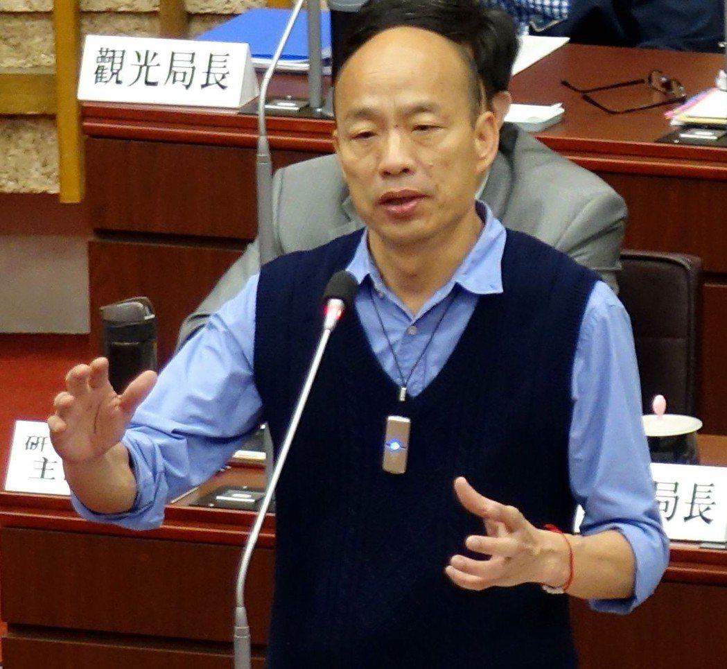 高市長韓國瑜上午表示,今天下午要告吳子嘉。記者楊濡嘉/攝影
