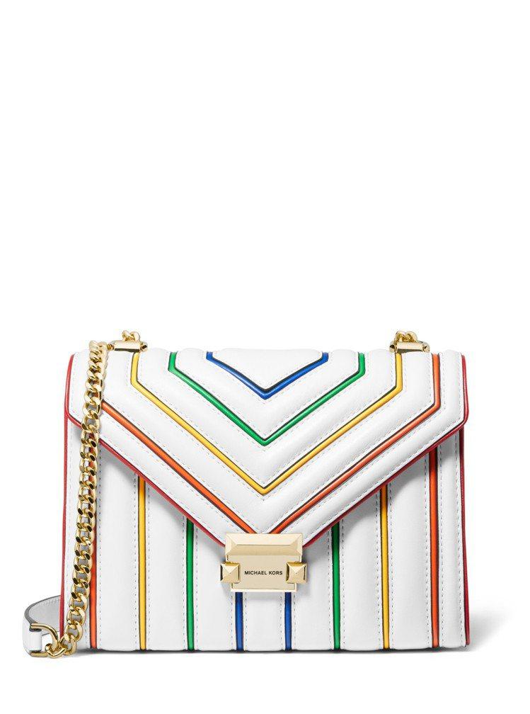 MICHAEL KORS Whitney白色彩虹鍊帶包,售價17,800元。圖/...