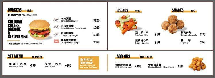 V Burger菜單與價位。圖/微風提供