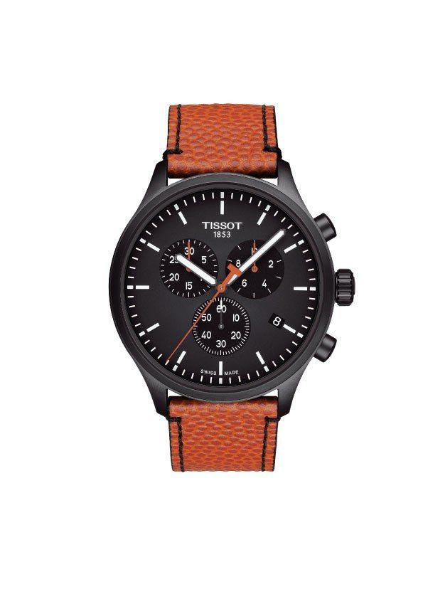 天梭NBA特別版CHRONO XL腕表,黑色PVD不鏽綱表殼,搭載石英機芯,約1...