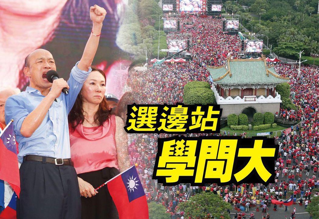 總統府前凱道一日舉辦挺韓造勢大會,韓國瑜(左)與妻子李佳芬到場,並宣布,「二○二...