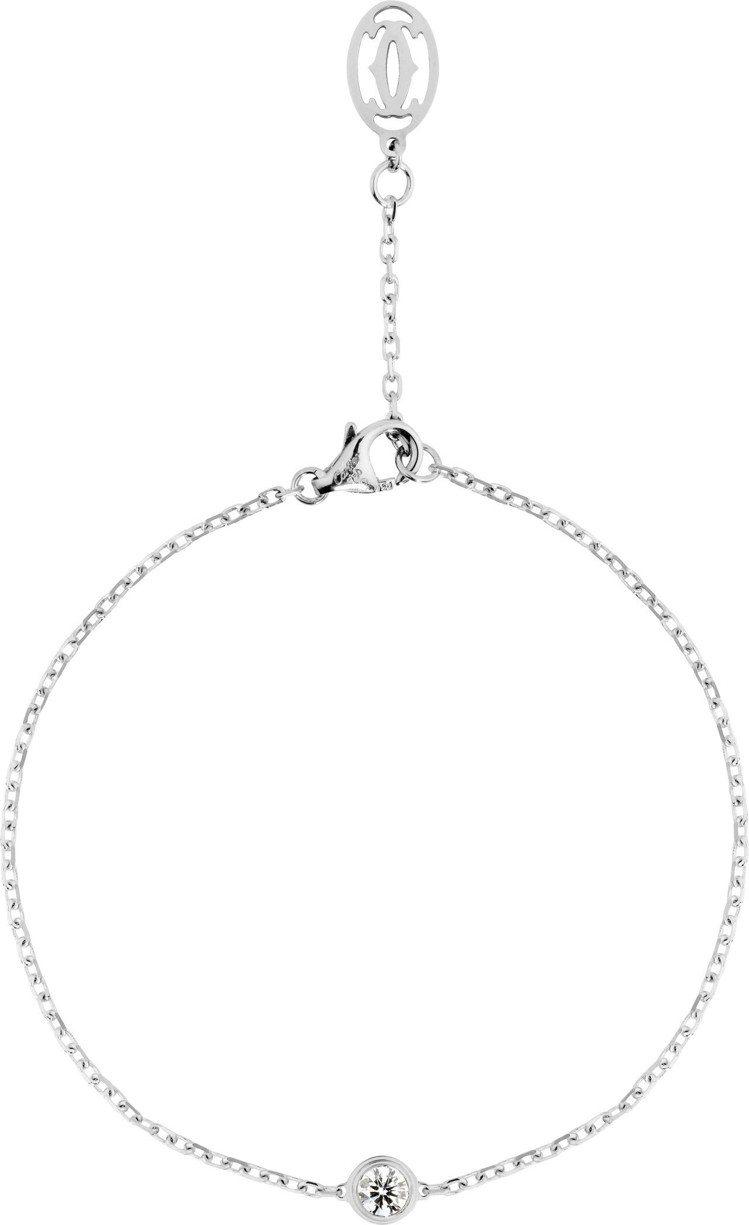 卡地亞Légers系列白 K 金鑲鑽手鍊,38,600元。圖/卡地亞提供