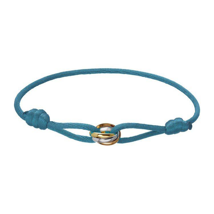 Trinity de Cartier 絲繩系列手環,白K金、玫瑰K金及黃K金,連...