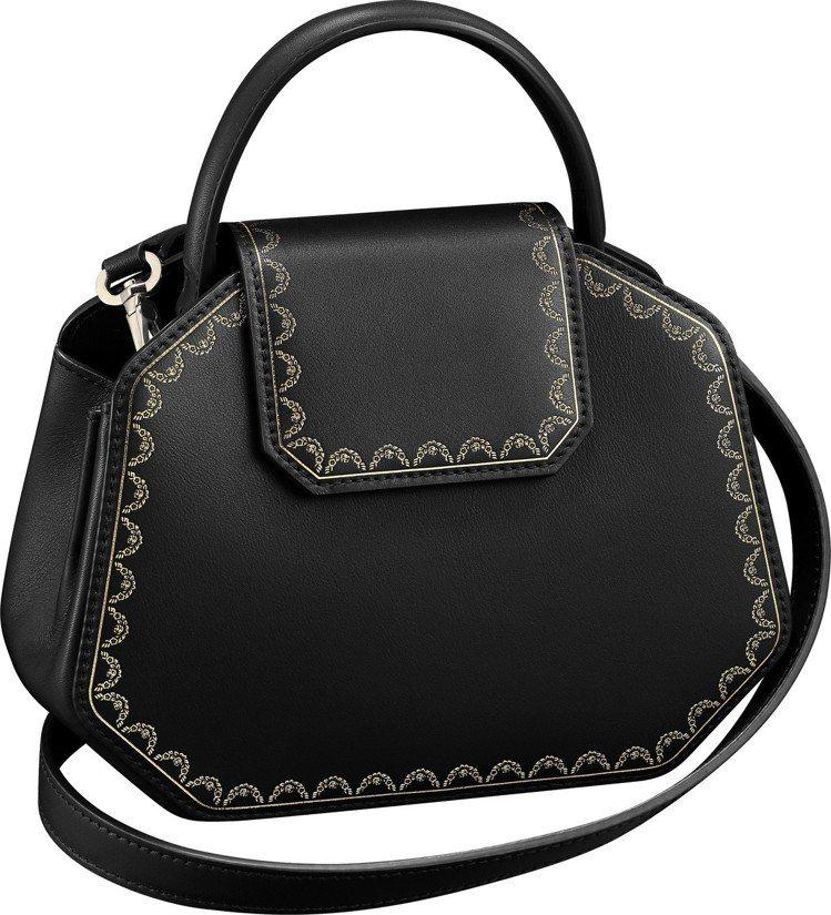 Guirlande de Cartier 迷你款黑色小牛皮手提包,62,500元...
