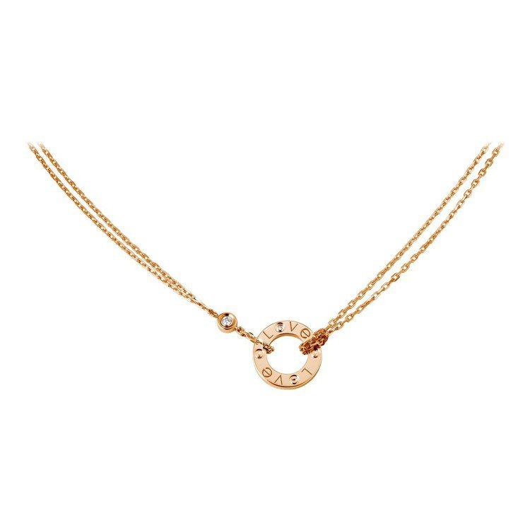 卡地亞LOVE系列玫瑰K金鑲鑽項鍊,68,500元。圖/卡地亞提供