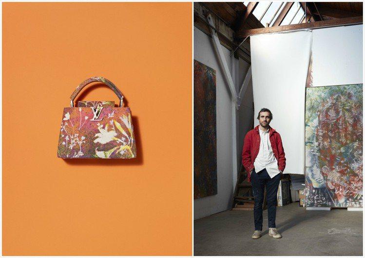 山姆.佛斯以珍珠母貝裝飾Arty Capucines包款的LV字樣。圖/皆為LV...