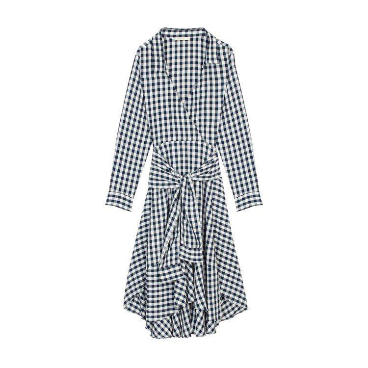 Maje黑白格紋洋裝,售價12,750元。圖/Maje提供