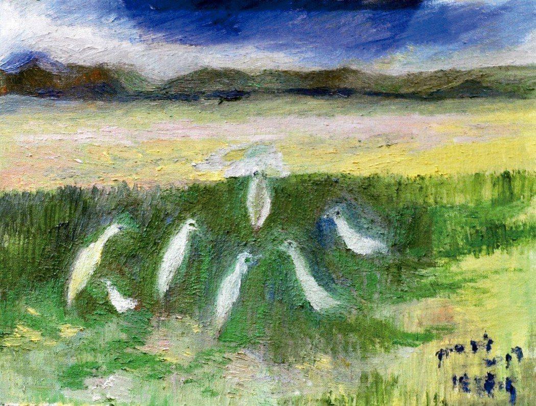 油麻菜花與白鷺鷥 繪圖╱張天鈞