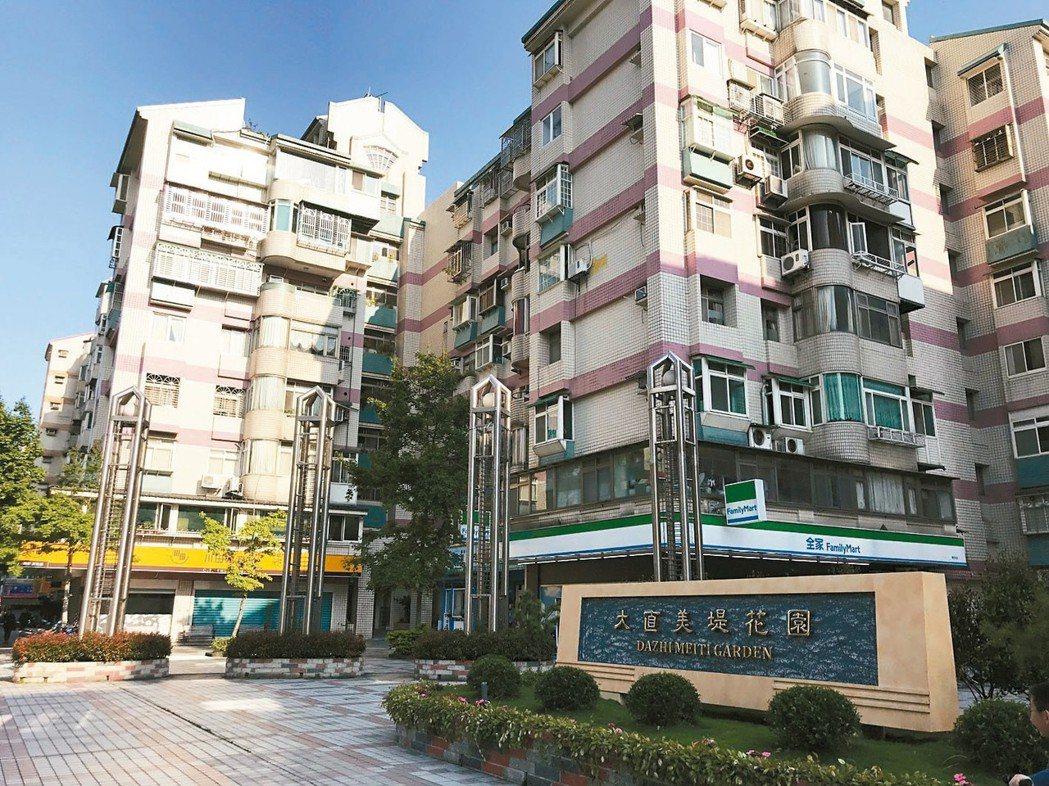 2018年北市熱門區第一名為台北市中山區,圖為大直美堤花園。 (本報系資料庫)