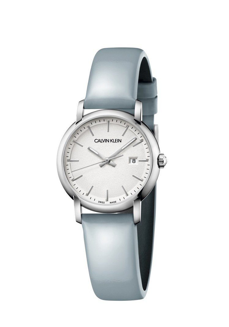 CALVIN KLEIN established系列腕表,不鏽鋼表殼搭配水藍色皮...