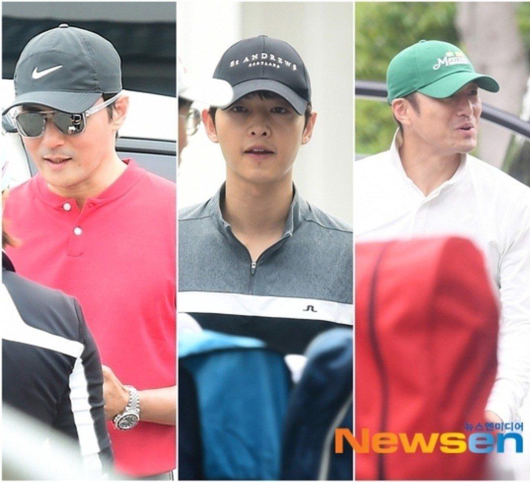 宋仲基、張東健、池珍熙一起打高爾夫。圖/摘自Newsen