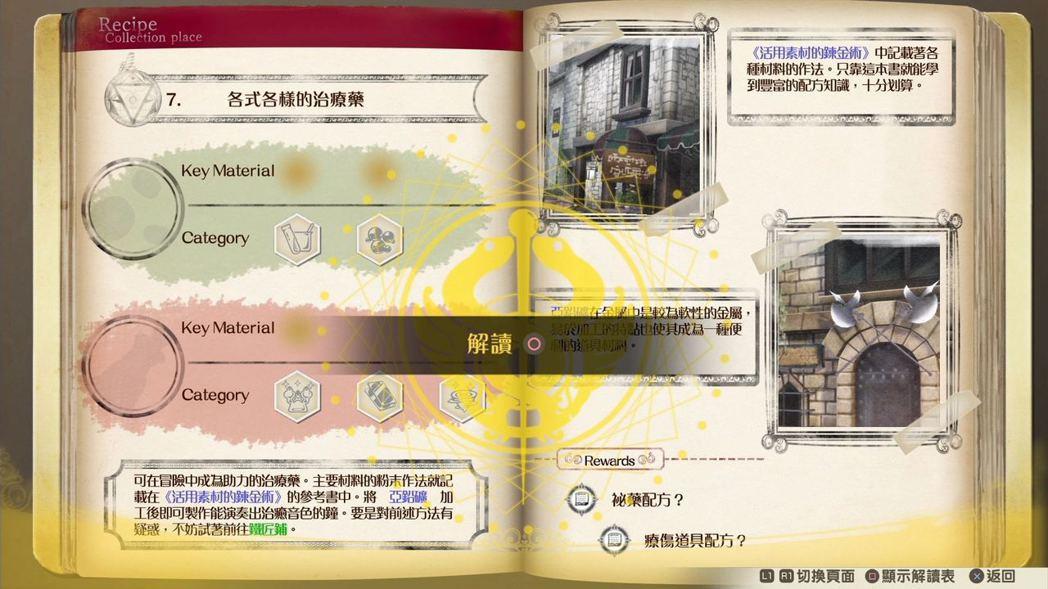 鍊金謎語之書像是有達成度的任務集,更有分主線、基礎篇及應用篇謎題。