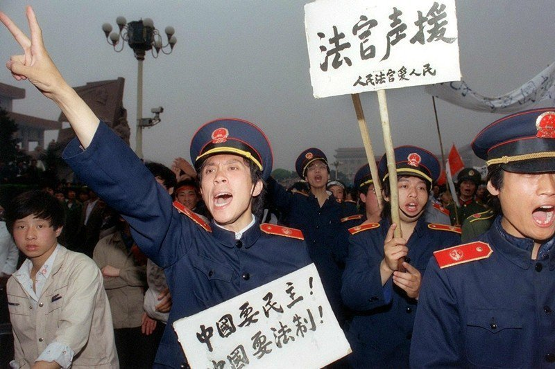 攝於1989年5月18日,北京天安門。 圖/法新社