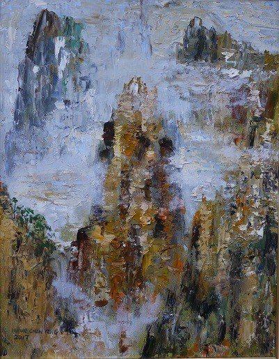 黃振瑩作品《黃山》10號油畫。 黃振瑩/提供