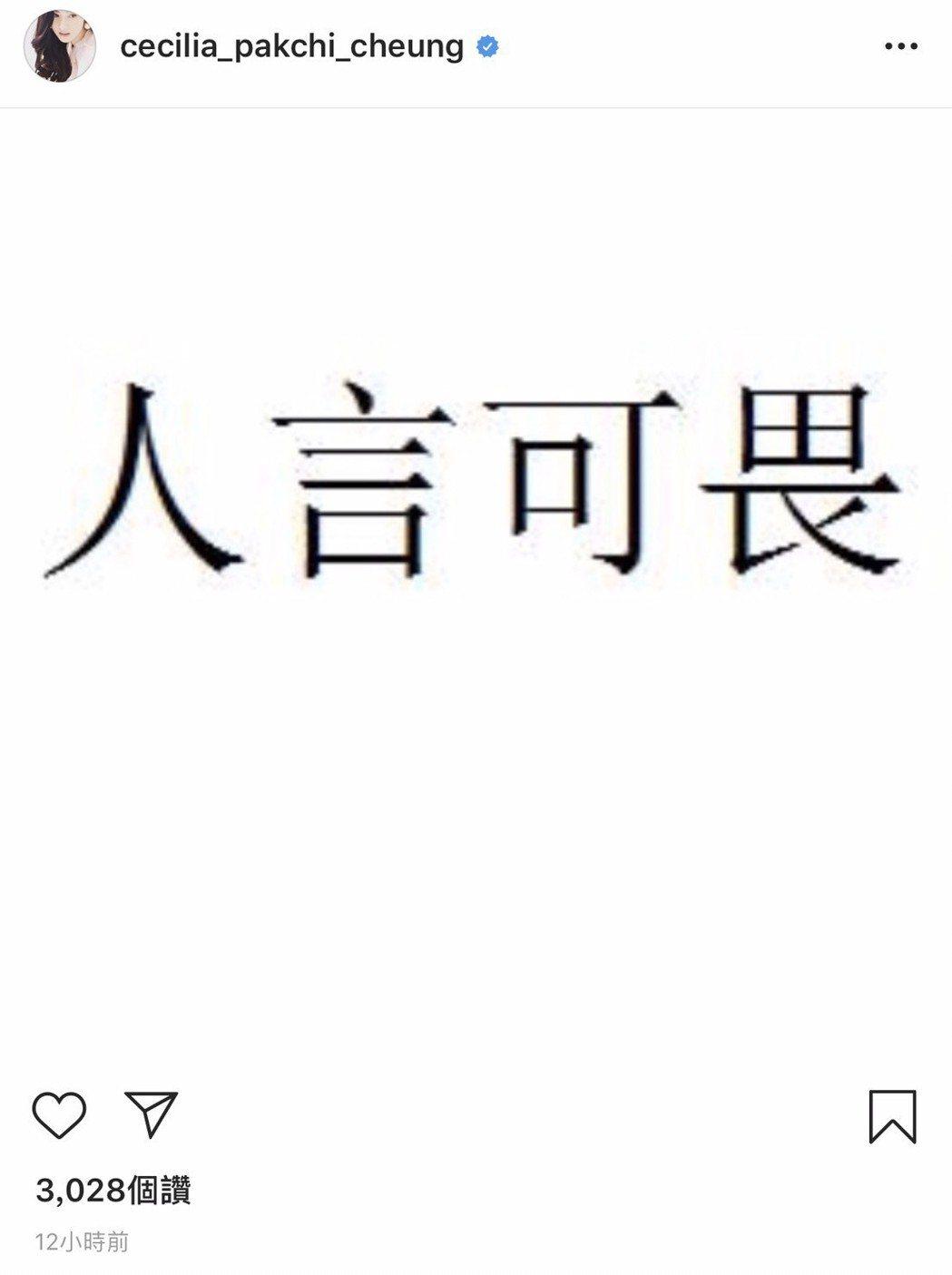 張柏芝在社群網站抒發心情。 圖/擷自IG