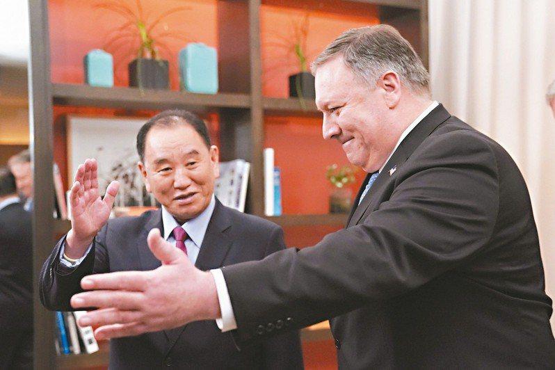 北韓勞動黨副委員長兼朝鮮亞太和平委員會委員長金英哲(左)。路透