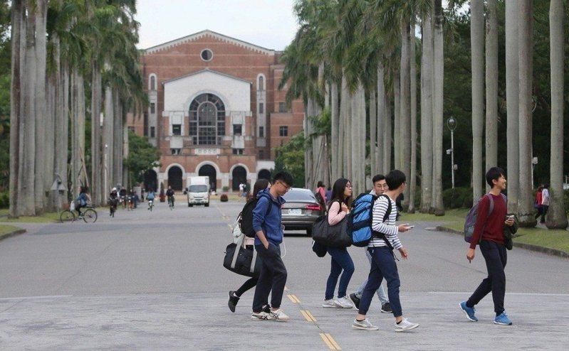 大專校院學雜費基本調幅為2.17%,是5年來最高。圖為台大校園。 本報資料照片