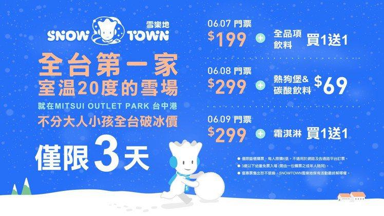 「SNOWTOWN雪樂地」開幕首三日優惠說明。圖/威秀提供