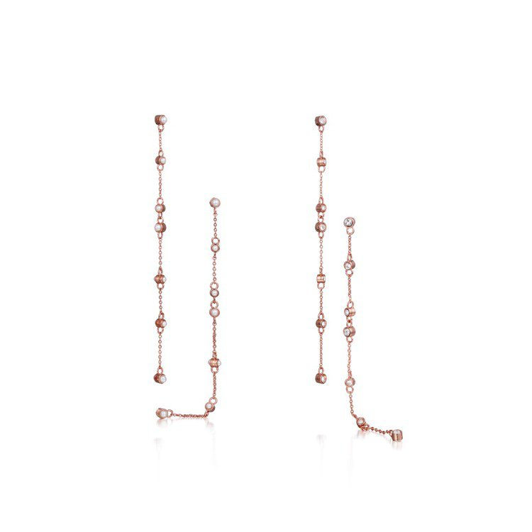 Tani by minetani玫瑰金珠寶線條耳環、8,100元。圖/MINOS...