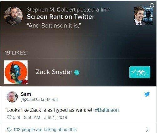 有網友發現查克史奈德對羅伯派汀森成為新一代「蝙蝠俠」的訊息按讚。圖/摘自推特